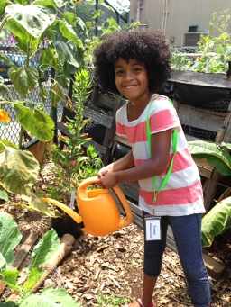 Kiddie Science member, watering plants